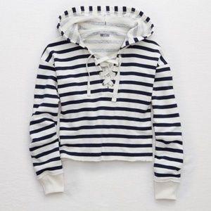 Aerie Stripe Lace-Up Crop Sweatshirt